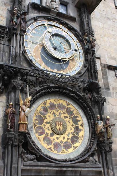 berühmte prager astronomische uhr, die alten atomuhr in der tschechischen hauptstadt. - weltzeituhr stock-fotos und bilder