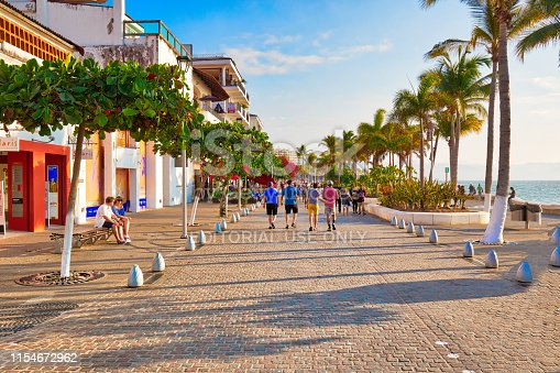 Puerto Vallarta, Mexico-20 April, 2018: Famous Puerto Vallarta sea promenade (Malecon)
