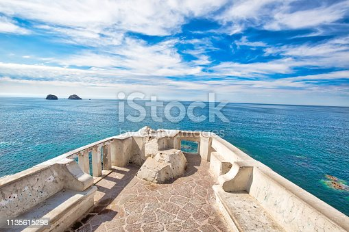 Famous Puerto Vallarta sea promenade (El Malecon) with ocean lookouts and scenic landscapes
