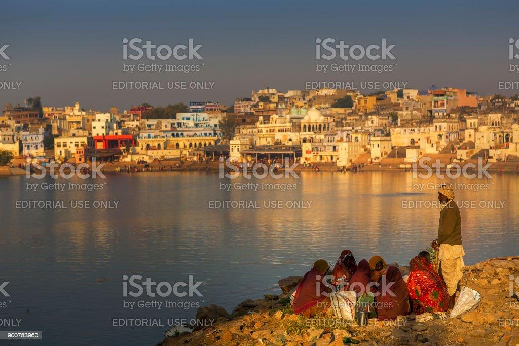famous pushkar lake stock photo