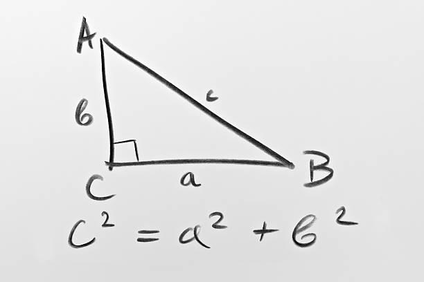 famous pythagorean formula - geometría fotografías e imágenes de stock