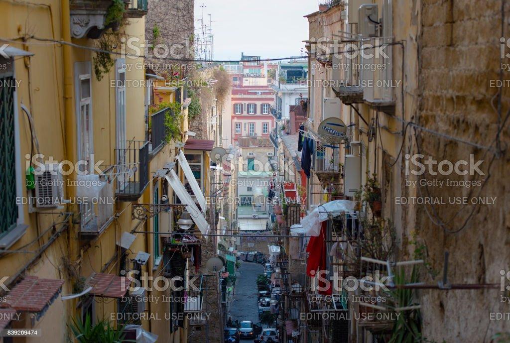Famous quarter Quartieri Spagnoli in Naples, Italy stock photo