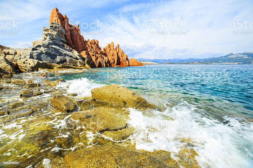 Famous Rocca Rossa, Sardinia stock photo