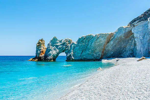Famous rock at Lalaria beach, Skiathios island, Greece stock photo