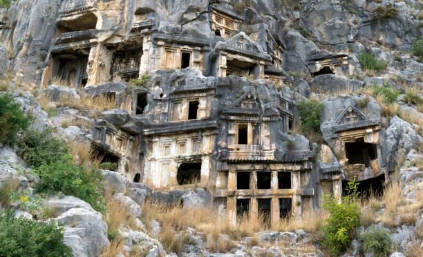 マイラ (アンタルヤ)、トルコの有名なロックカット リュキア墓 ストックフォト