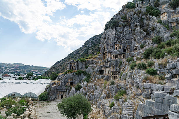 Famous rock-cut Lycian tombs in Myra (Demre), Turkey ストックフォト