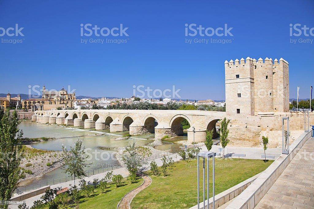 Famous Roman bridge and Guadalquivir river in Cordoba,  Spain. royalty-free stock photo