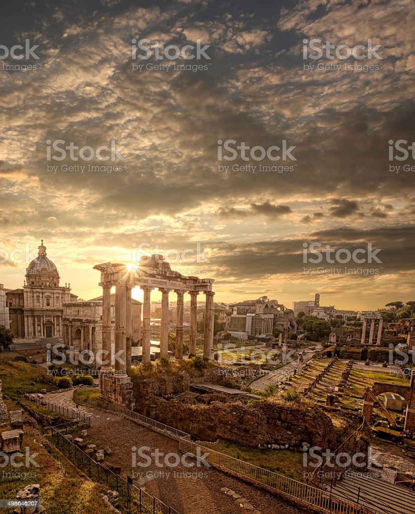 Famous Roman ruins in Rome, Capital city of Italy stock photo
