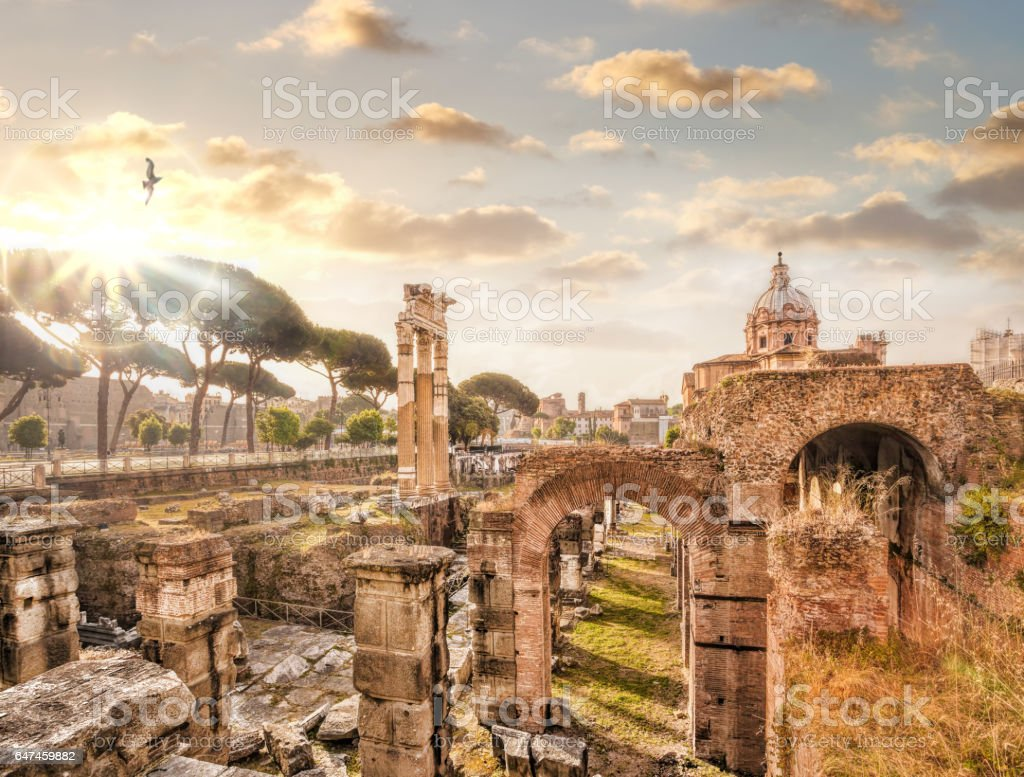 Famous Roman ruins in Rome, Italy stock photo