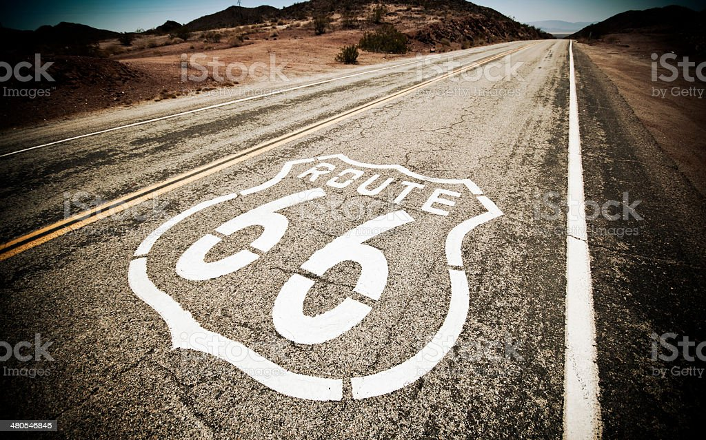 Famous Route 66 landmark on the road stock photo