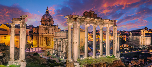 Famous Ruins of Forum Romanum on Capitolium hill in Rome, Italy