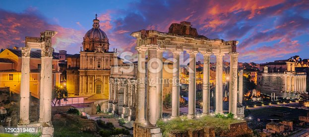 Famous Ruins of Forum Romanum on Capitolium hill in Rome, Italy