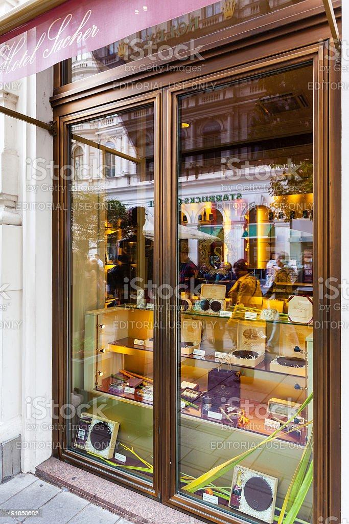 famous Sachertorte chocolate cakes in Saher Hotel stock photo