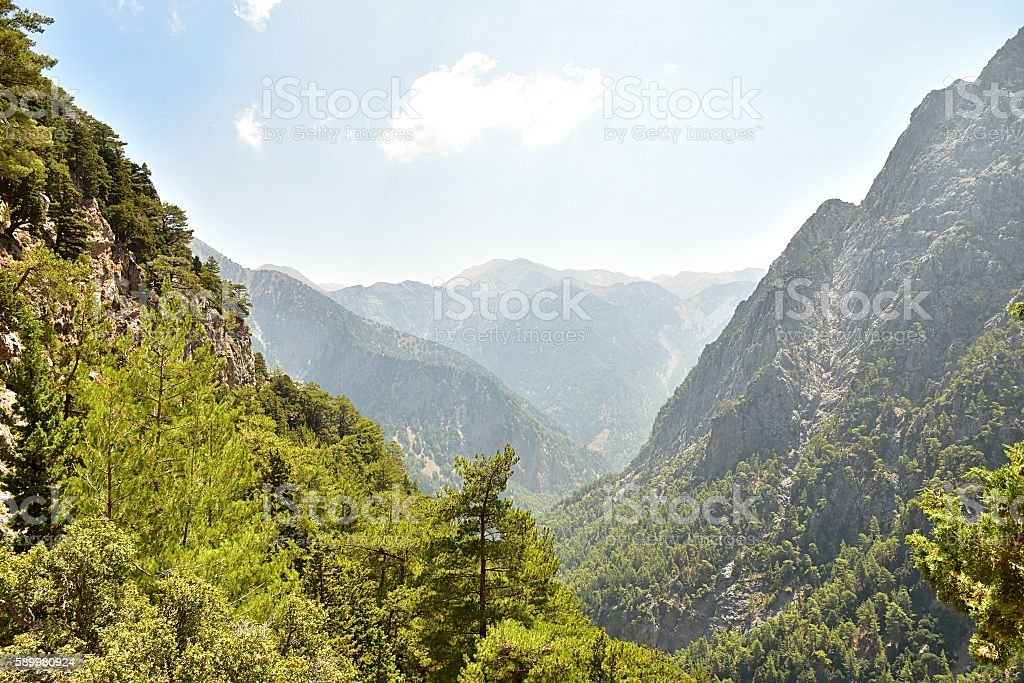 Famous Samaria Gorge, Crete, Greece stock photo