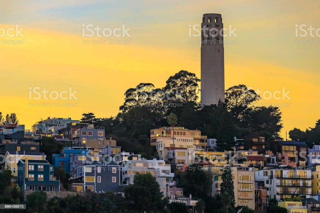 Famous San Francisco Coit Tower on Telegraph Hill at sunset stock photo