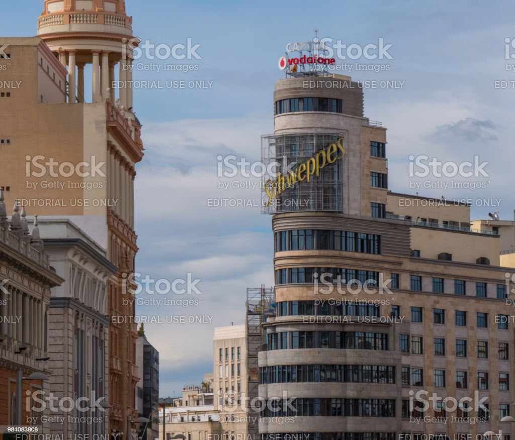 Famous Schweppes advertising at Calleo square building - MADRID / SPAIN - FEBRUAR 21, 2018