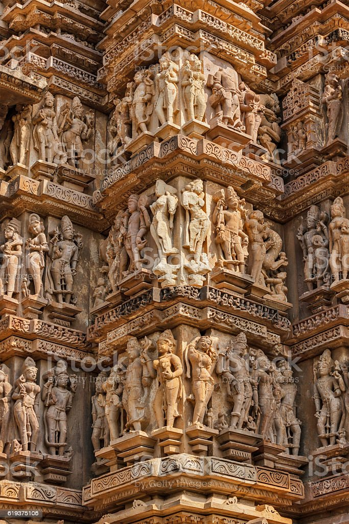 Famous sculptures of Khajuraho temples, India stock photo