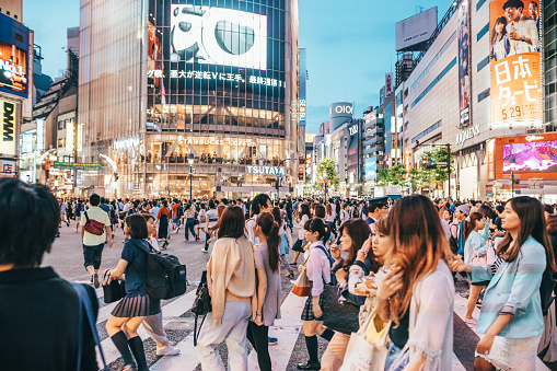 Famous Shibuya Crossing In Tokyo, Japan