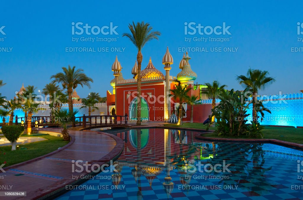 Famous shopping and entertainment complex '1001 night' (Alf Leila Wa Leila), evening view, Sharm El Sheikh, Egypt stock photo