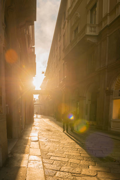 "Famous Shopping Street ""Via Della Spiga"" with Sunlight in Milan stock photo"