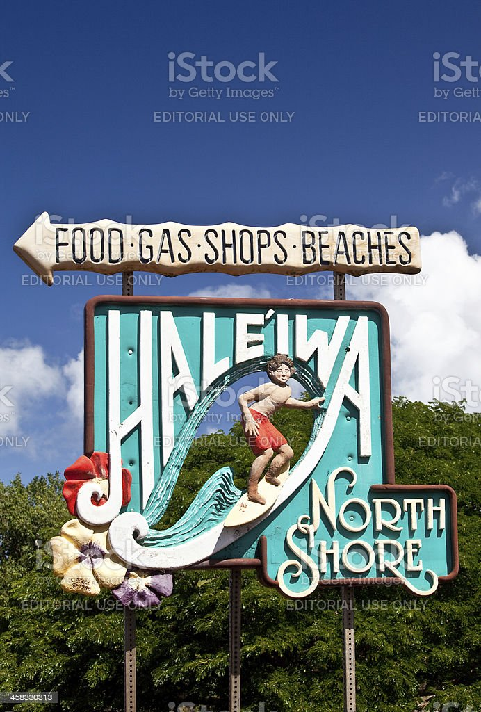 Famous Sign Entering Oahu's Fabled North Shore royalty-free stock photo