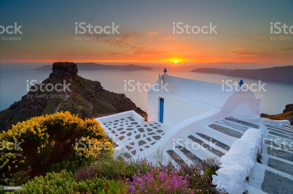 Famous Skaros Rock in Imerovigli - Santorini stock photo
