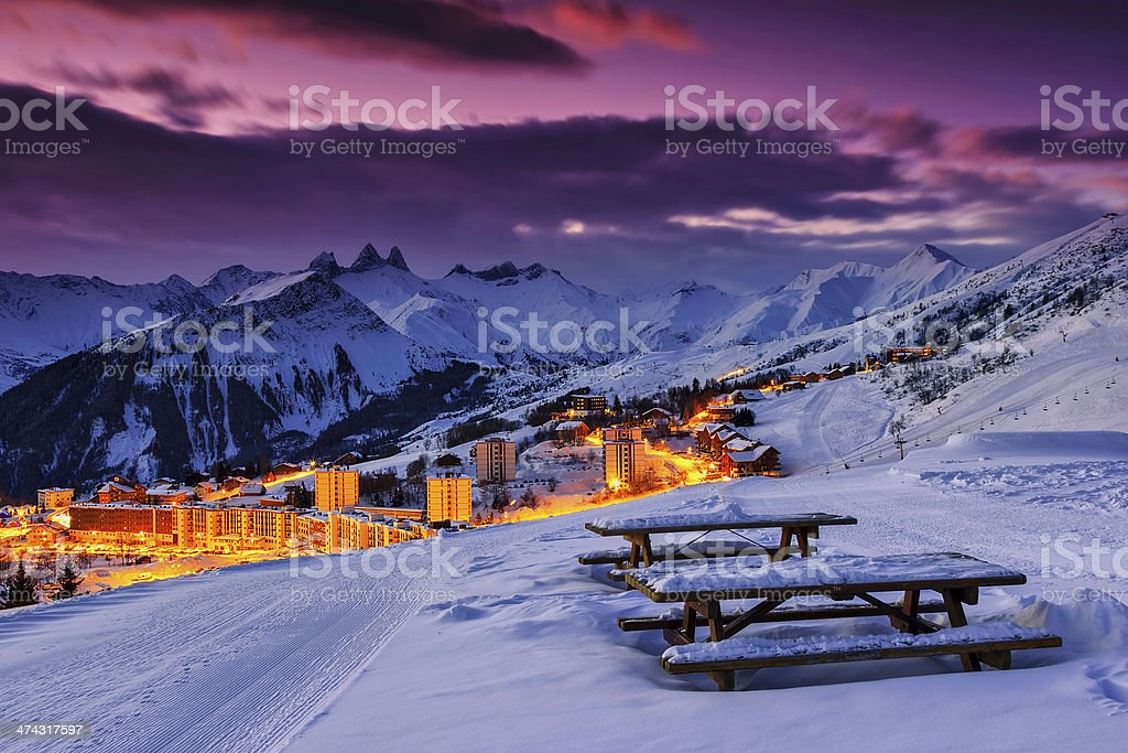 Famous ski resort in the Alps,Les Sybelles,France stock photo