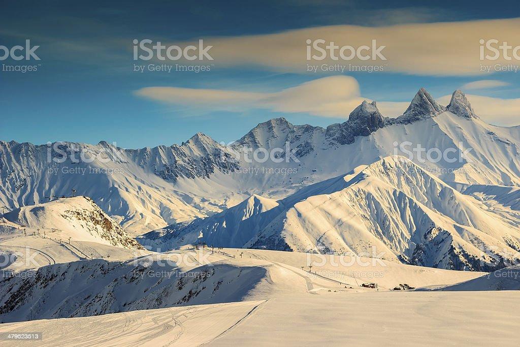 Famous ski resort,Aiguilles D'Arves,Les Sybelles,France stock photo