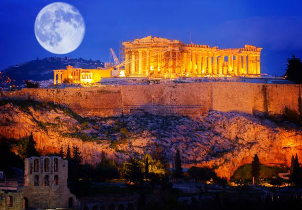 Famous skyline of Athens, Greece stock photo