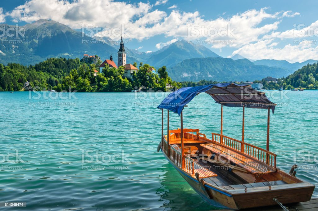 famous spa resort Lake Bled. Slovenia stock photo