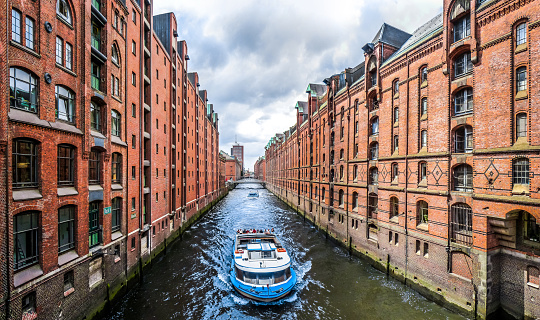 Famous Speicherstadt warehouse district in Hamburg, Germany