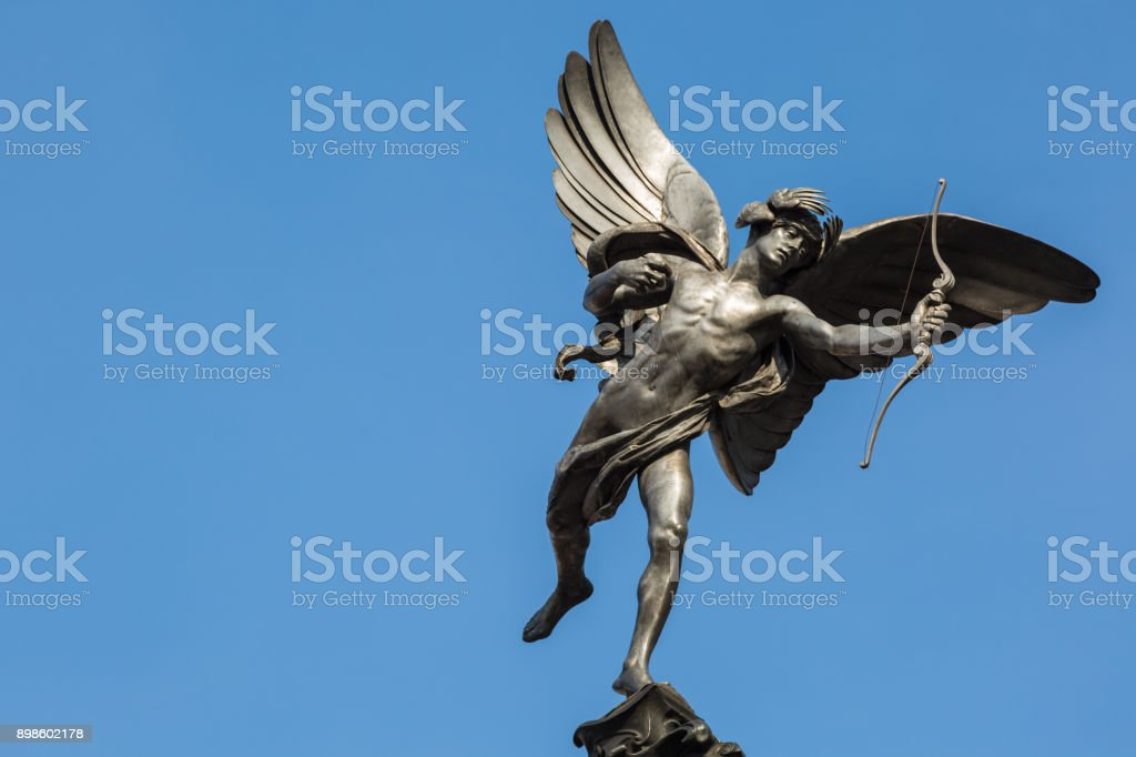 Famous statue of Cupid at Piccadilly Circus, London, UK stock photo