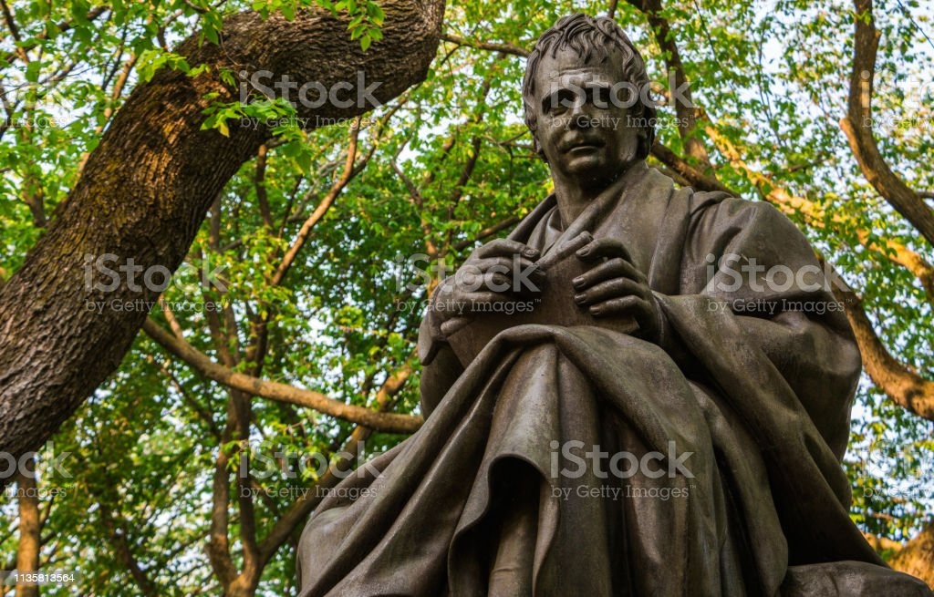 Famous Statue Of Historic Writer Edgar Allan Poe On Central Parks Literary Walk