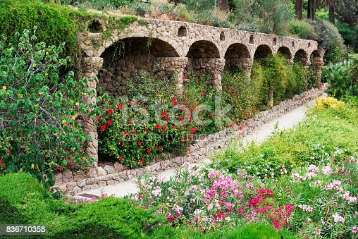 istock Famous stone columns in Park Guell Garden, Barcelona, Spain 836710358
