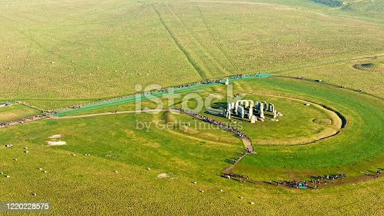Famous Stonehenge in England - aerial view -aerial photography