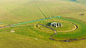 Aerial view of Stonehenge in summer, England