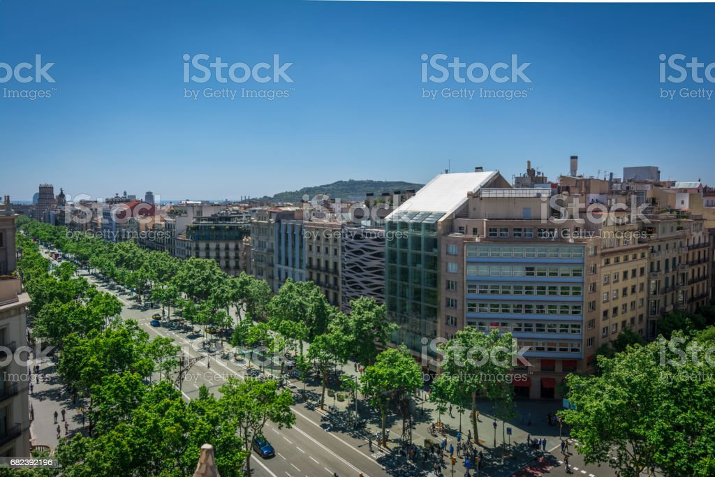 Famous street of Passeig de Gracia in Barcelona, Spain royalty-free stock photo