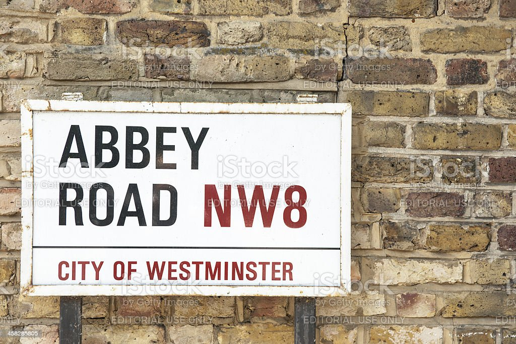 Famous street sign, Abbey Road. stock photo