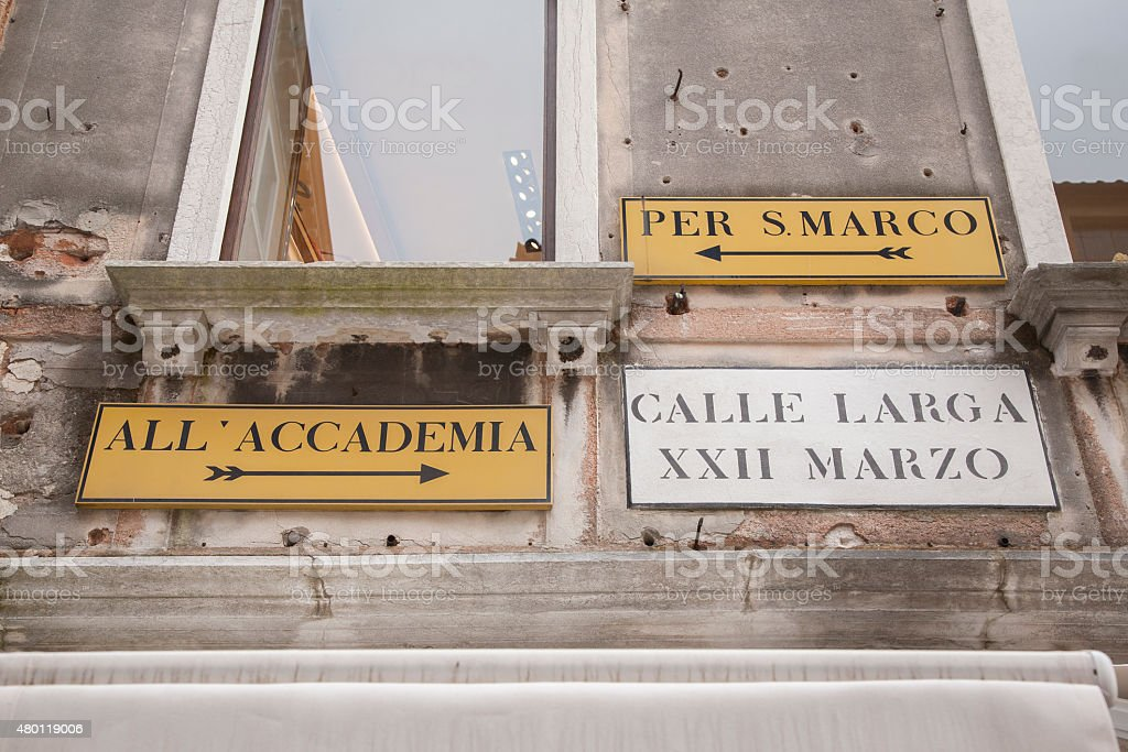 Famous Street Signs in Venice stock photo