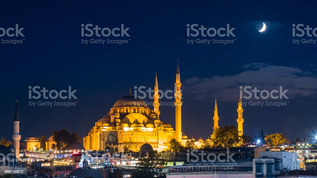famous Suleymaniye mosque in Istanbul at night stock photo
