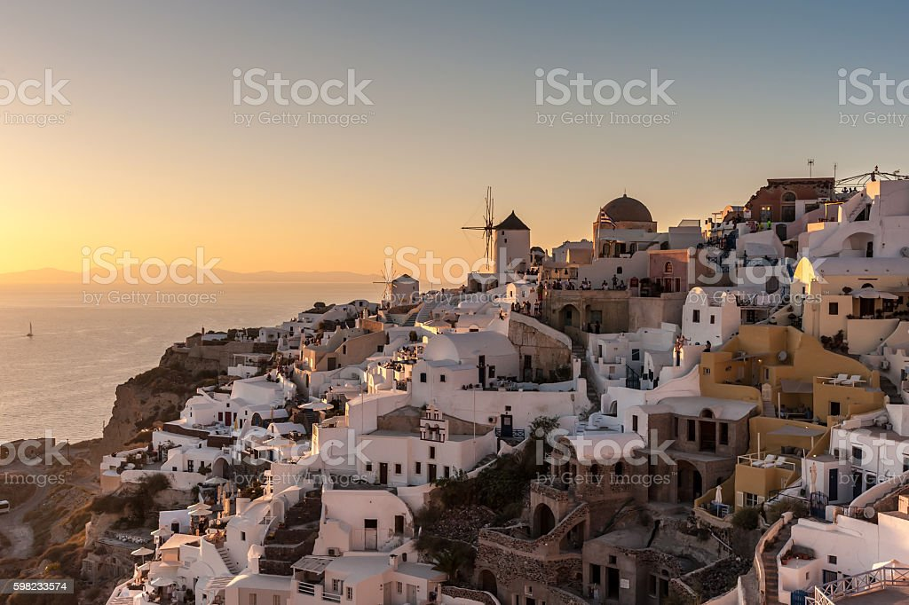 Famous sunset in Oia - Santorini foto royalty-free