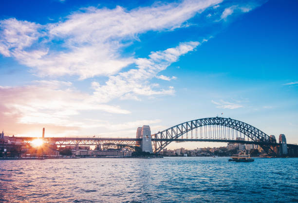 Famous sunset over Sydney Harbour Bridge. Stunning view of the waterfront near the Opera house. stock photo