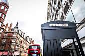 Famous Telephone Booth And Double Decker Bus In London, UK