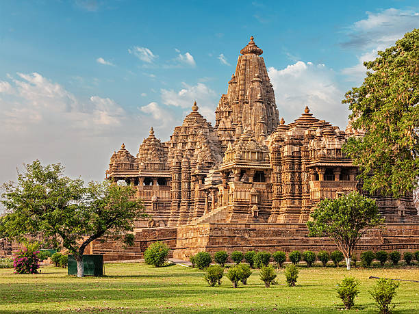 famous temples of khajuraho - hinduism stock photos and pictures