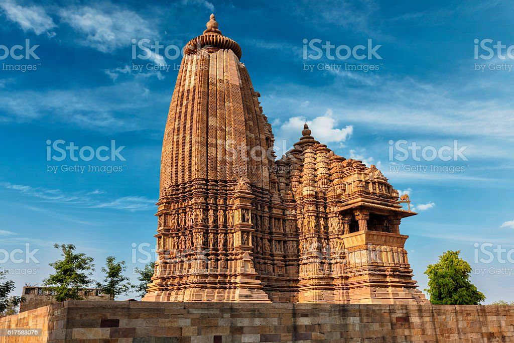 Famous temples of Khajuraho with sculptures, India stock photo
