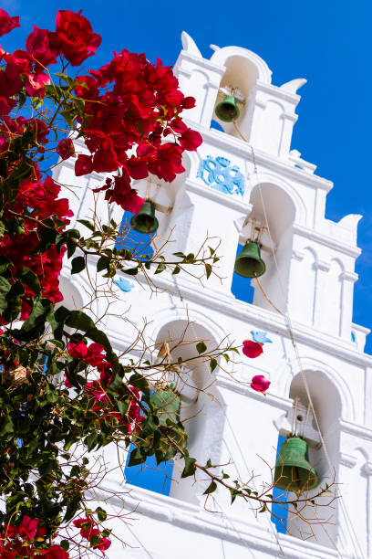 Famous three bells in santorini stock photo