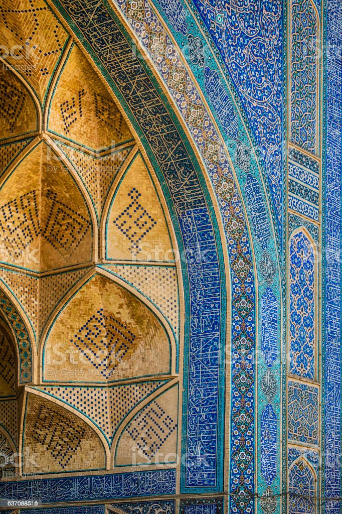 Famous tilework at Jameh or Friday Mosque of Isfahan, Iran stock photo