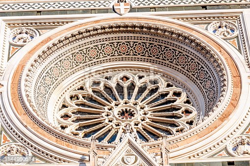 Famous tourist landmark Duomo Basilica Cathedral in Florence, detail closeup view