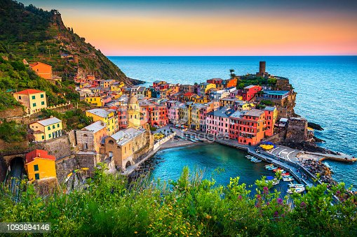 Majestic touristic village on the hill with colorful mediterranean buildings. Fantastic travel and photography place at sunset, Vernazza, Cinque Terre National Park, Liguria, Italy, Europe