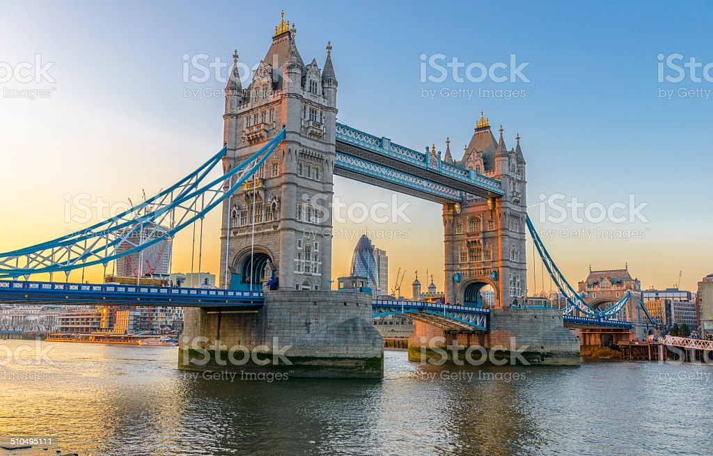 Famous Tower Bridge at sunset, London, England stock photo